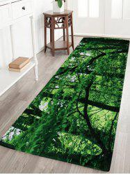 Forest Coral Velvet Absorbent Large Area Rug - GREEN