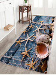 Coral Velvet Starfish Conch Floor Area Rug - BLUE GRAY