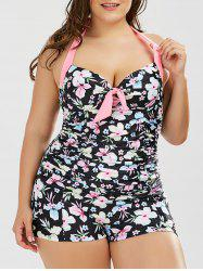 Floral Underwire Plus Size Halter Neck Swimwear - BLACK