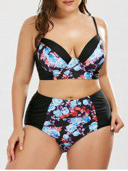 Floral Underwire Plus Size High Waist Bikini Swimsuit with Push Up Bra - BLACK