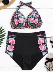 Halterneck Floral High Waisted Bikini Set - BLACK