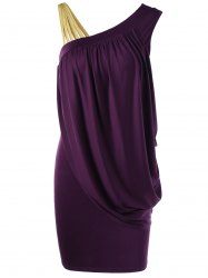 One Strap Skew Collar Slimming Drape Dress - PURPLE