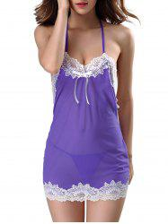 Transparent Lace Trim Mesh Halter Babydoll Sleepwear