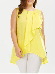 Ruffle Front Plus Size Sleeveless Blouse - YELLOW
