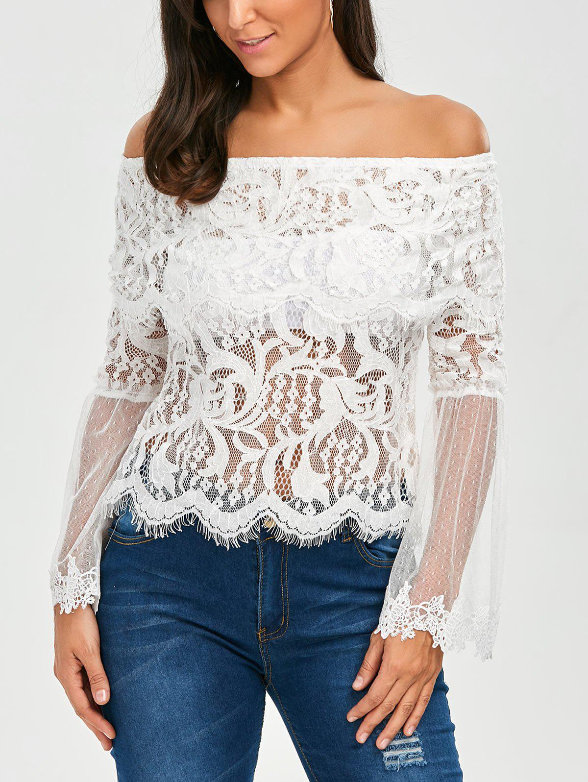Trendy Flare Sleeve Mesh Panel Lace Blouse