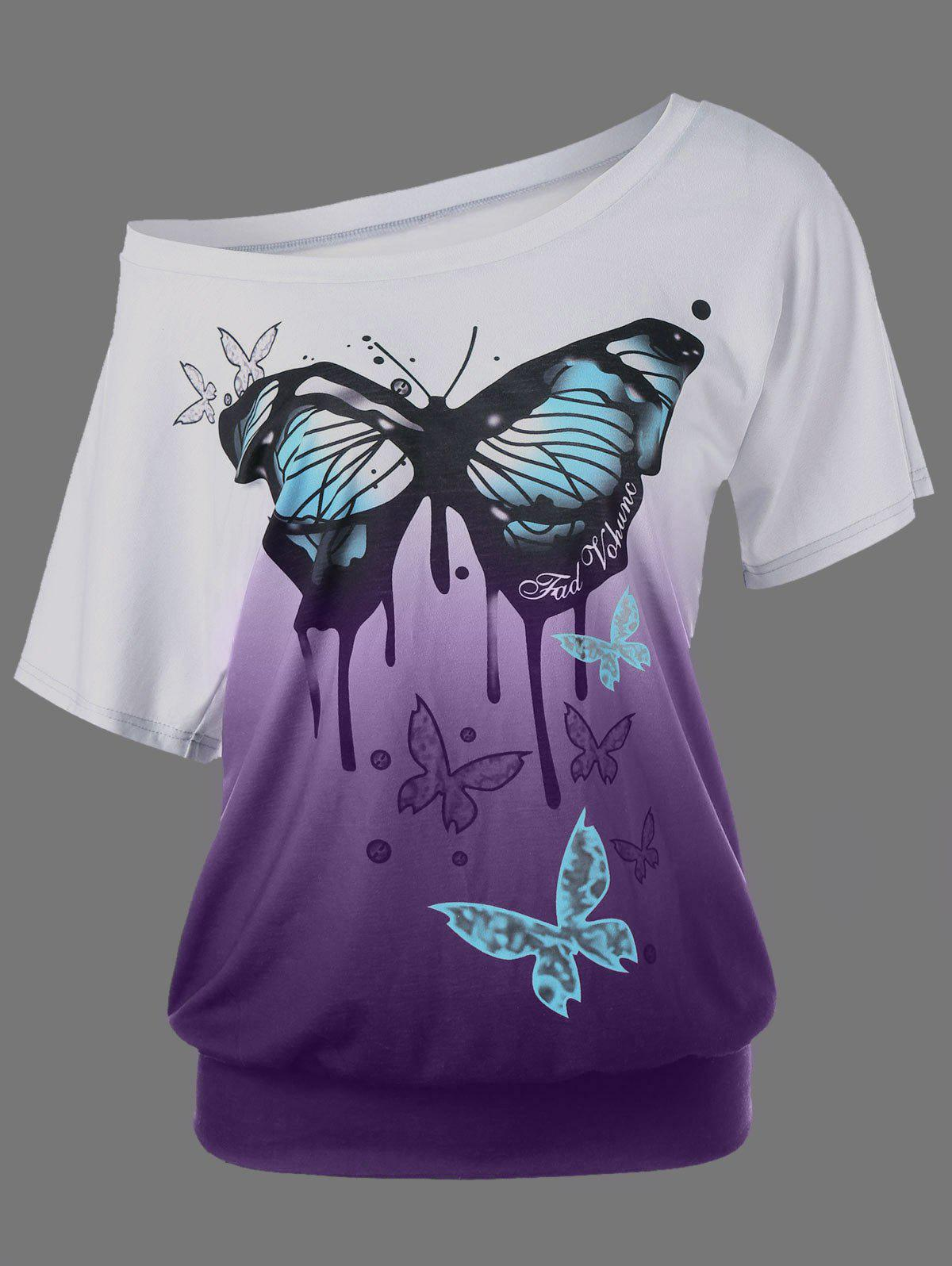 Shops Butterfly Pattern Ombre T-Shirt