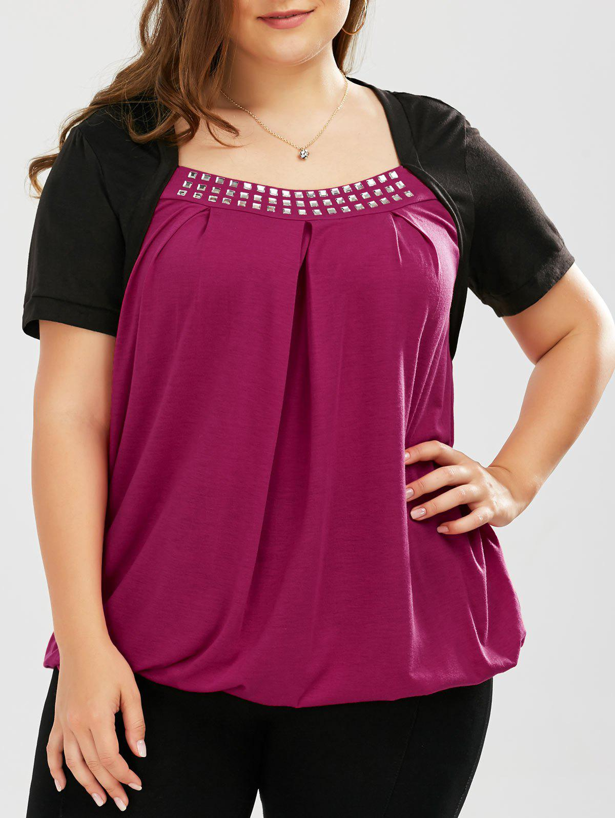 Online Plus Size Rhinestoned Embellished Two Tone T-Shirt