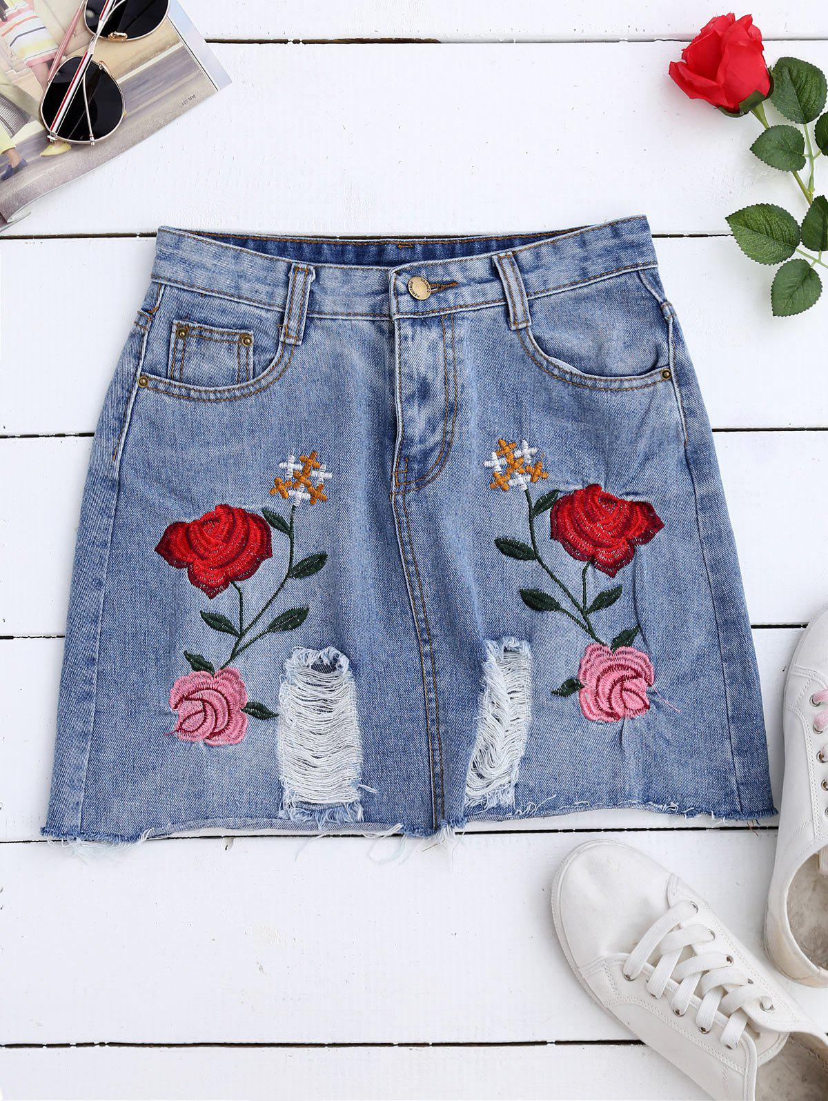 Latest Rose Embroidered A Line Ripped Jean Skirt