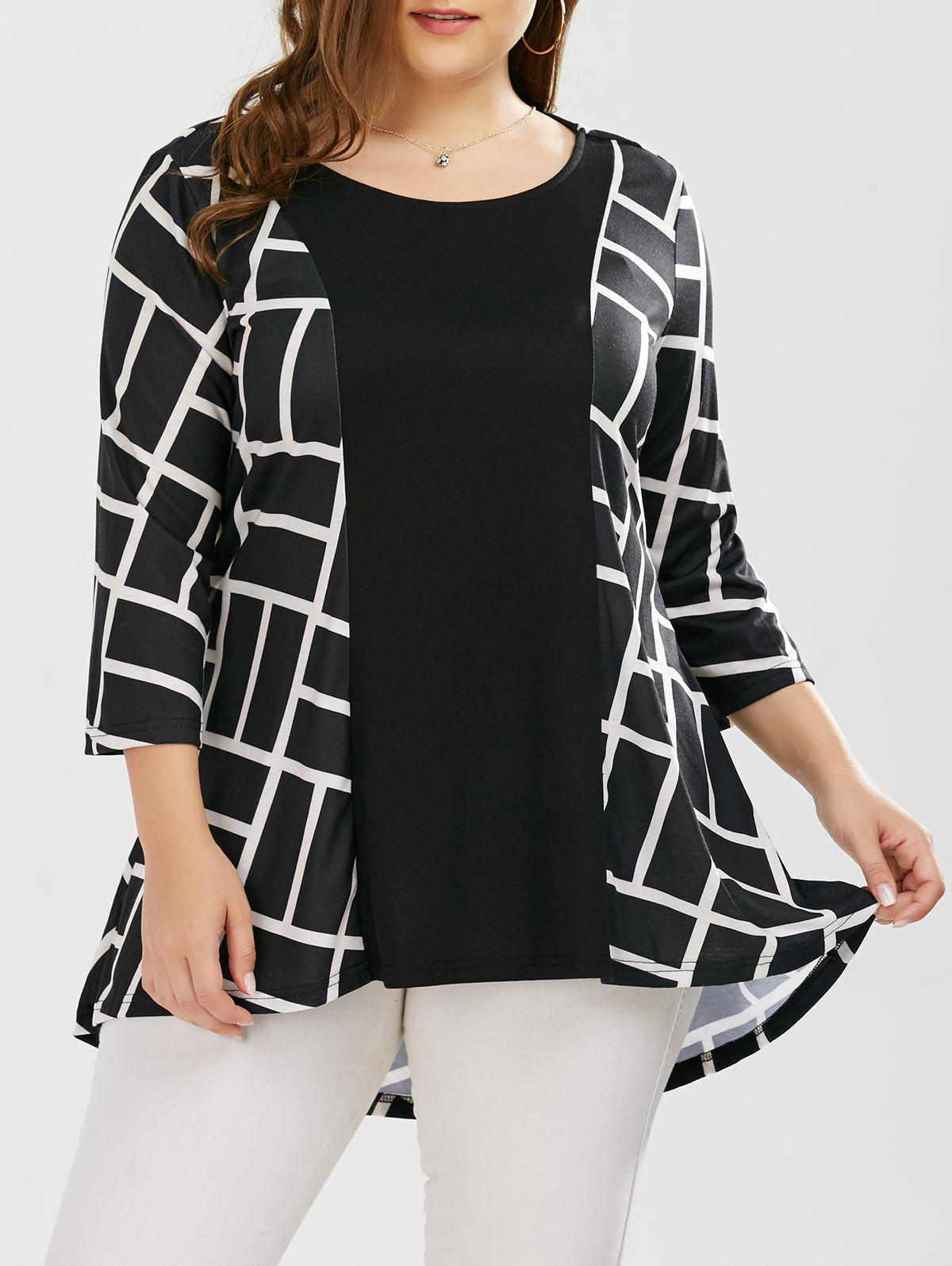 Plus Size Geometric Smock BlouseWOMEN<br><br>Size: 2XL; Color: WHITE AND BLACK; Material: Polyester,Spandex; Shirt Length: Long; Sleeve Length: Three Quarter; Collar: Scoop Neck; Style: Casual; Season: Fall,Spring,Summer; Pattern Type: Geometric; Weight: 0.3700kg; Package Contents: 1 x Blouse;