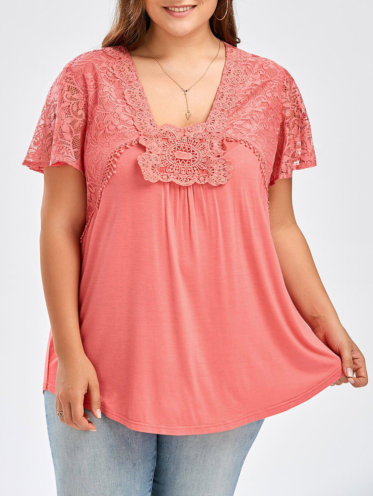 Store Plus Size Lace Panel Curved Hem T-Shirt
