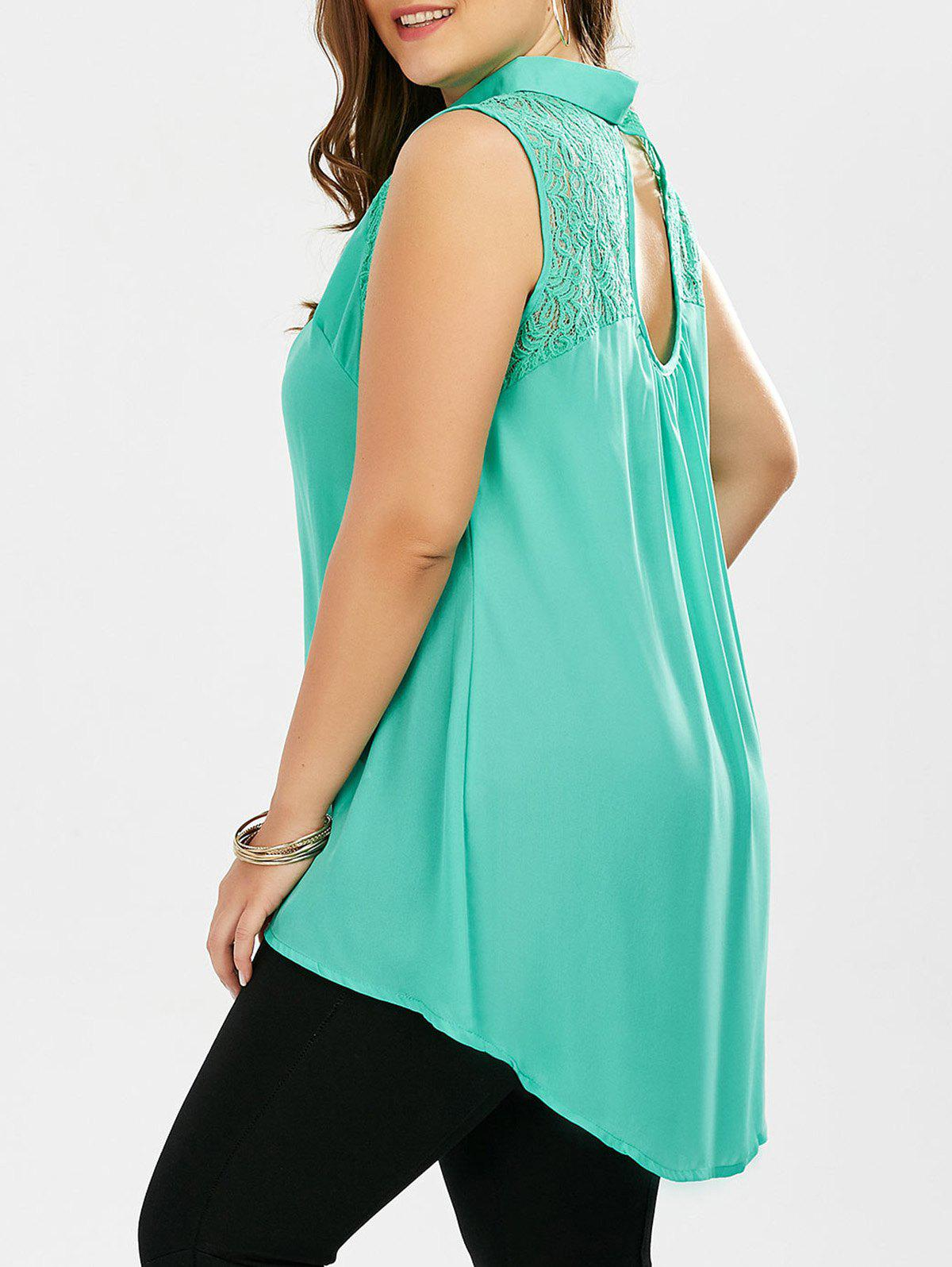 Plus Size Chiffon Sleeveless Button Up ShirtWOMEN<br><br>Size: 6XL; Color: LAKE GREEN; Material: Cotton Blends,Polyester; Fabric Type: Chiffon; Shirt Length: Long; Sleeve Length: Sleeveless; Collar: Shirt Collar; Style: Fashion; Season: Spring,Summer; Embellishment: Lace; Pattern Type: Solid; Weight: 0.1600kg; Package Contents: 1 x Shirt;
