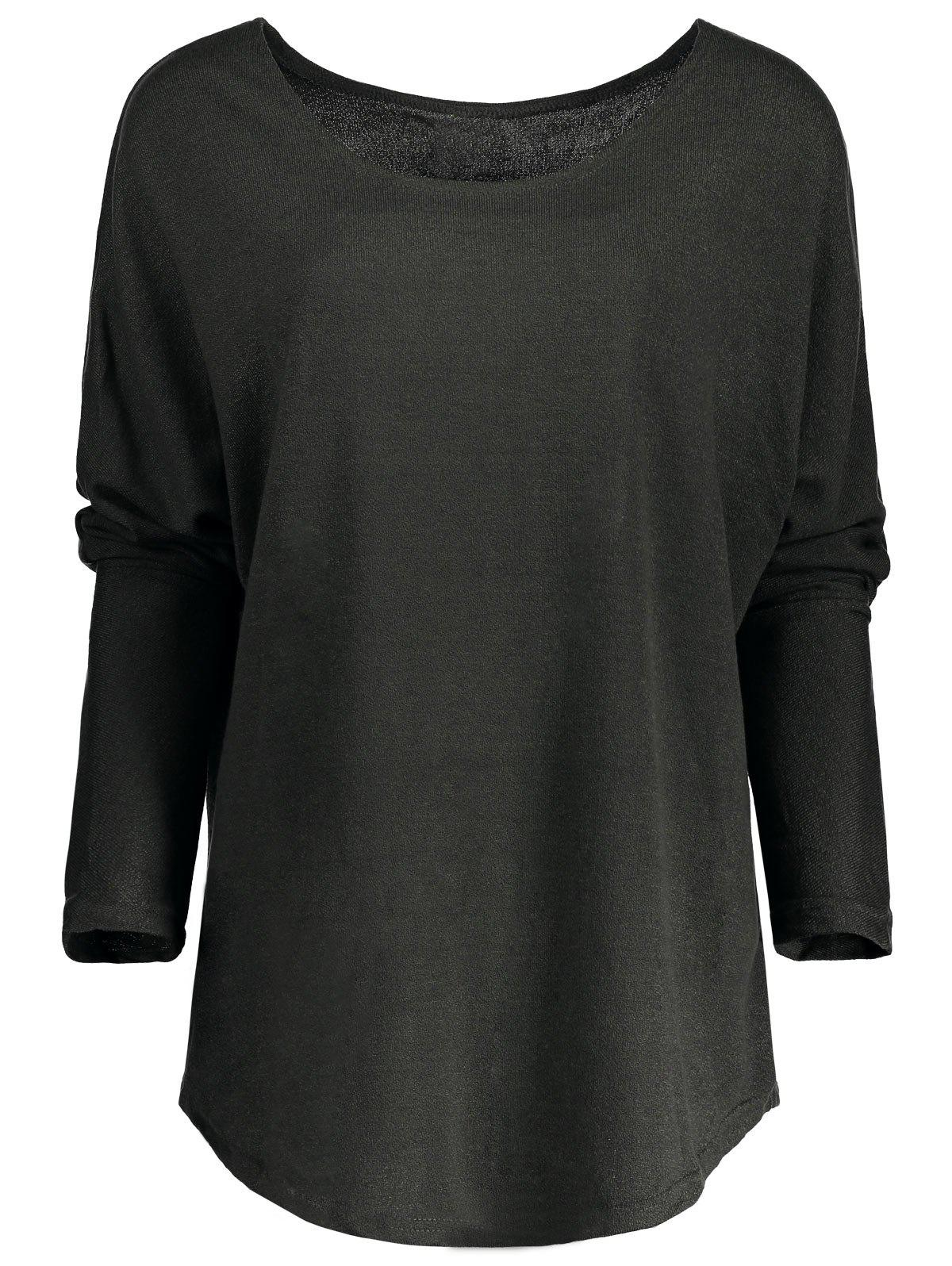 Womens Stylish Scoop Neck Asymmetrical Long Sleeve SweaterWOMEN<br><br>Size: S; Color: DEEP GRAY; Type: Pullovers; Material: Polyester; Sleeve Length: Full; Collar: Jewel Neck; Style: Fashion; Pattern Type: Solid; Season: Fall,Spring,Winter; Weight: 0.270kg; Package Contents: 1 x Sweater;