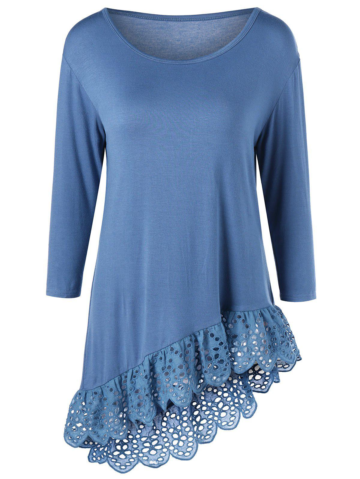 Fancy Broderie Openwork Scalloped Edge Asymmetrical T-Shirt