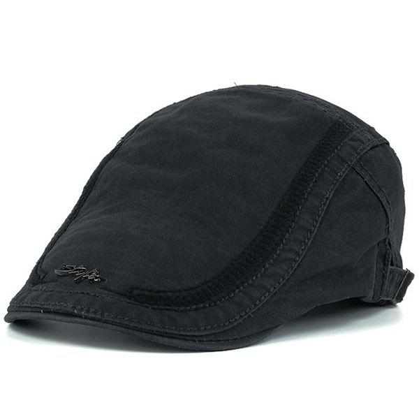 Stripe Embroidered Metal Letters Embellished Newsboy HatACCESSORIES<br><br>Color: DEEP GRAY; Hat Type: Newsboy Caps; Group: Adult; Gender: For Men; Style: Fashion; Pattern Type: Letter; Material: Polyester; Circumference (CM): 58CM; Weight: 0.1300kg; Package Contents: 1 x Hat;
