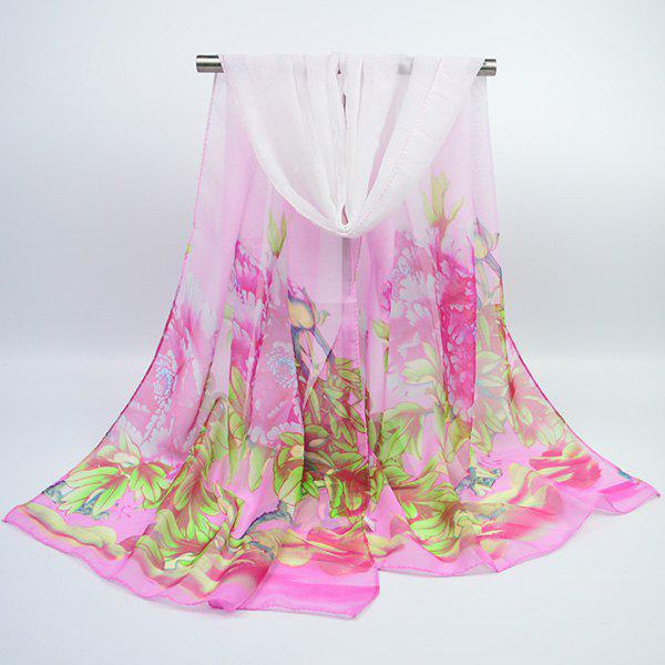 Hand Painted Peony Blossom Printed Chiffon ScarfACCESSORIES<br><br>Color: PINK; Scarf Type: Scarf; Group: Adult; Gender: For Women; Style: Vintage; Material: Polyester; Pattern Type: Floral,Print; Season: Fall,Spring,Summer,Winter; Scarf Length: 155CM; Scarf Width (CM): 50CM; Weight: 0.0400kg; Package Contents: 1 x Scarf;