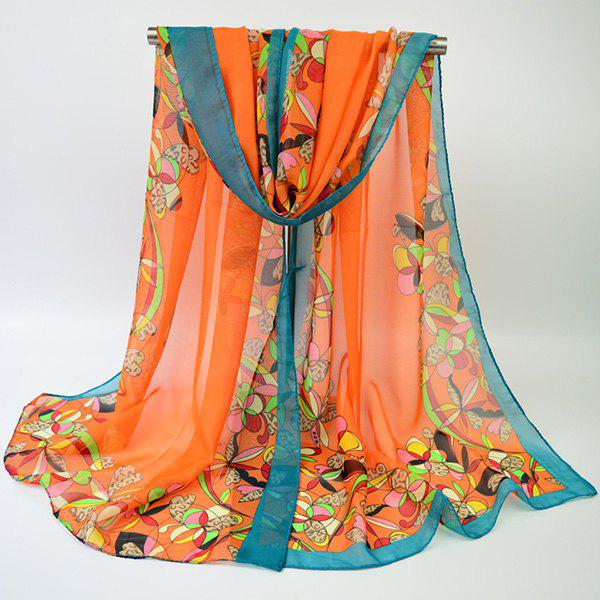 Outfits Vintage Edge Printing Multicolor Flower Blossom Shawl Scarf