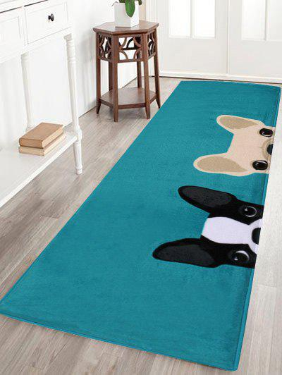 Puppy Head Coral Velvet Floor Area RugHOME<br><br>Size: W16 INCH * L47 INCH; Color: LAKE BLUE; Products Type: Bath rugs; Materials: Coral FLeece; Pattern: Cartoon; Style: Cute; Shape: Rectangle; Package Contents: 1 x Area Rug;