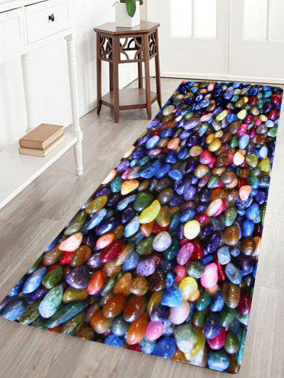 Colorful Stone Anti Slip Coral Velvet Floor RugHOME<br><br>Size: W16 INCH * L47 INCH; Color: COLORFUL; Products Type: Bath rugs; Materials: Coral FLeece; Pattern: Print; Style: Trendy; Shape: Rectangle; Package Contents: 1 x Area Rug;
