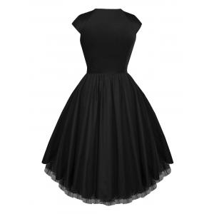 Mesh Insert Skater Vintage Dress - BLACK L