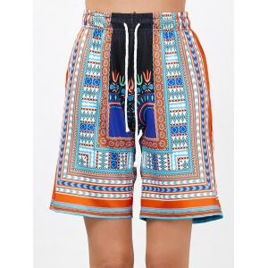 Bohemian Print High Waisted Drawstring Board Shorts