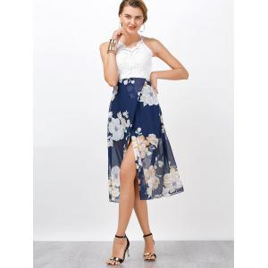 Crochet Lace Insert Halter Low Back Chiffon Dress - BLUE AND WHITE L