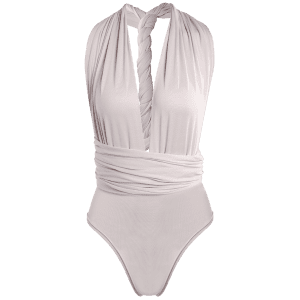 Sexy Solid Color Backless Convertible Bodysuit For Women - LIGHT GRAY XL