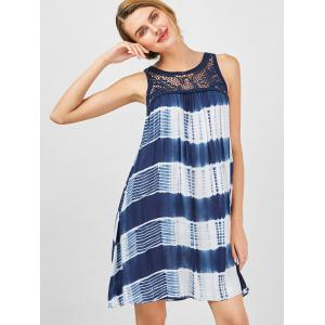 Sleeveless Tie Dye A Line Casual Swing Dress - BLUE AND WHITE XL