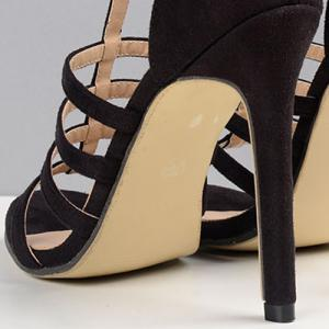 T Strap Suede Stiletto Heels Sandals -