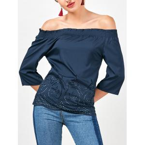 Off The Shoulder Openwork Blouse
