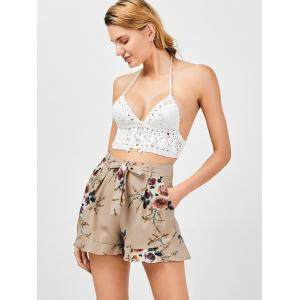 Belted High Waisted Floral Shorts - KHAKI S