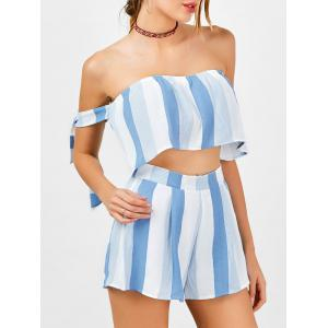 Stripe Strapless Top and High Waisted Shorts - Blue And White - S