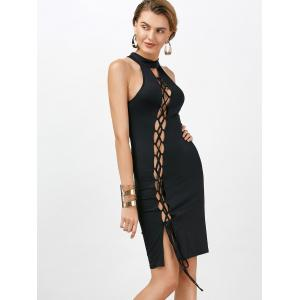Criss Cross Backless Bodycon Cocktail Club Dress - BLACK XL
