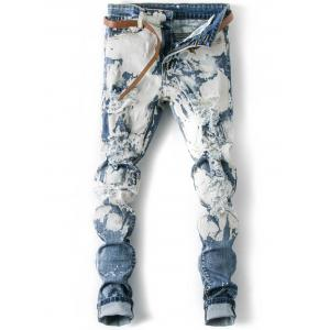 Splatter Paint Cuffed Destroyed Jeans