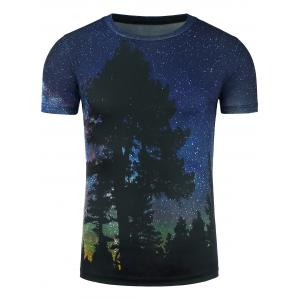 3D Galaxy Forest Print T-Shirt