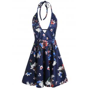 Plunge Mini Floral Halter Backless Club Dress - Deep Blue - 2xl