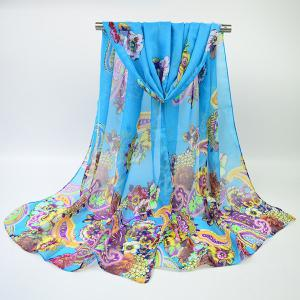Ethnic Multicolor Blooming Flowers Printed Chiffon Scarf - Azure - S