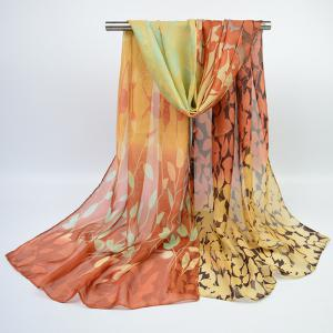 Fine Gauze Chiffon Ombre Floral Printing Scarf - Light Coffee - S