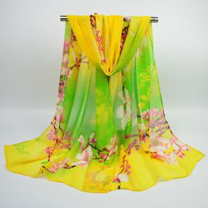 Flowering Branch Printed Chiffon Lightsome Shawl Scarf