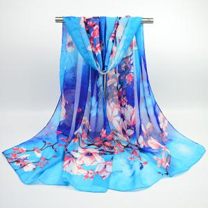 Flowering Branch Printed Chiffon Lightsome Shawl Scarf - Blue - S