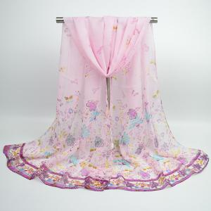 Lightsome Butterfly Anthemy Blossom Printing Vintage Chiffon Scarf