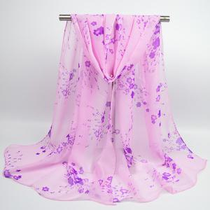 Tiny Flowers Printed Chiffon Gossamer Shawl Scarf - Light Purple - 3xl