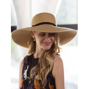 Ribbon Bowknot Broad Brimmed Beach Straw Hat