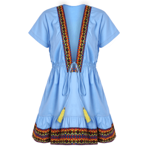 Plunging Neckl Mini Embroidered Dress - BLUE L
