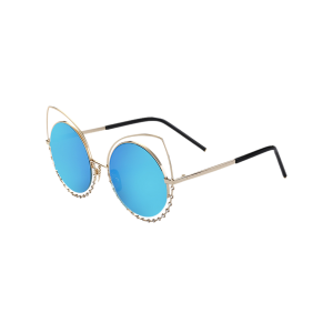 Hollow Out Cat Eye Rhinestone Round Mirror Sunglasses - Blue - 8