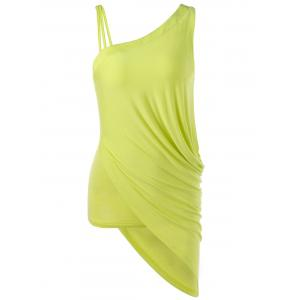 Skew Collar Ruched Asymmetrical Tank Top