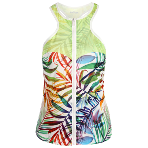 Racerback Print Zip Sports Running Tank Top - LIGHT GREEN S