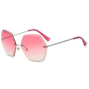 Ombre Polygon Rimless Street Snap Sunglasses - Pink