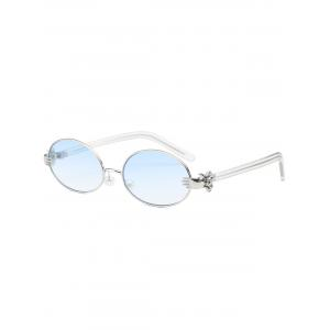 Oval Faux Pearl Nose Pad Metallic Hand Sunglasses