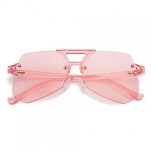 Hollow Out Crossbar Geometric Rimless Sunglasses - PINK