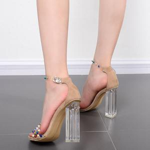 Ankle Strap Rivets Chunky Heels Sandals - APRICOT 38